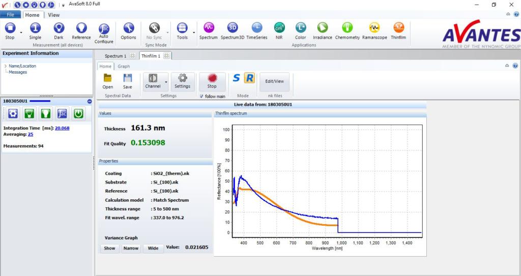 Avasoft 8 - Thin Film measurement